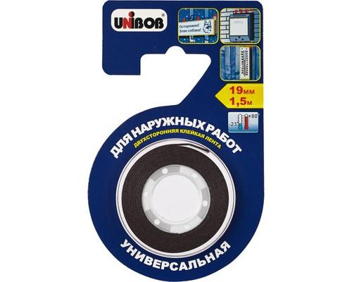 Клейкая лента монтажная двусторонняя Unibob черная 19 мм х 1.5 м для наружных работ - (371116К)