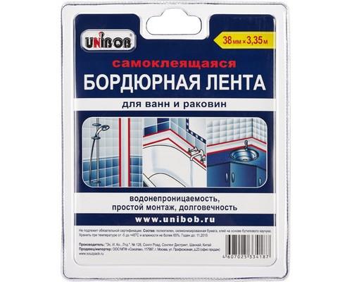 Клейкая лента бордюрная Unibob белая 38 мм х 3.35 м для ванн и раковин - (371111К)