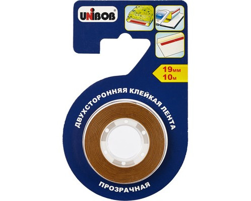 Клейкая лента монтажная двусторонняя Unibob прозрачная 19 мм х 10м для фотобумаги и пленки - (371119К)
