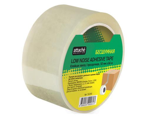 Клейкая лента упаковочная Attache Selection прозрачная 50 мм x 66 м плотность 48 мкм бесшумная - (312241К)
