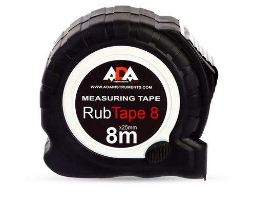 Рулетка ADA RubTape 8 метров стальная с двумя стопами - (484367К)