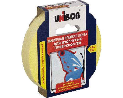 Клейкая лента малярная Unibob желтая 19 мм х 25 м для изогнутых поверхностей - (371120К)