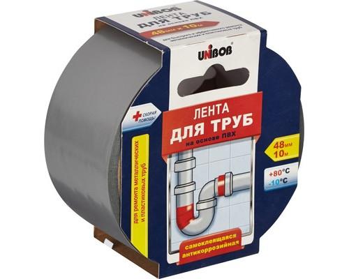 Клейкая лента для труб ПВХ Unibob серая 48 мм х 10 м - (371121К)