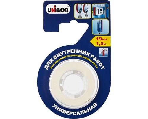 Клейкая лента монтажная двусторонняя Unibob белая 19 мм х 1.5 м для внутренних работ - (371115К)