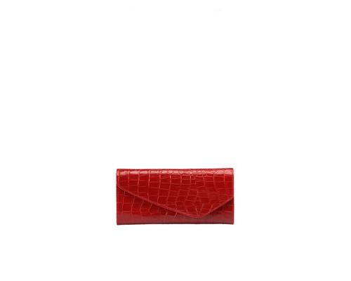 Портмоне женское FABULA Croco Nile PJ95KR из натуральной кожи красного цвета - (398885К)