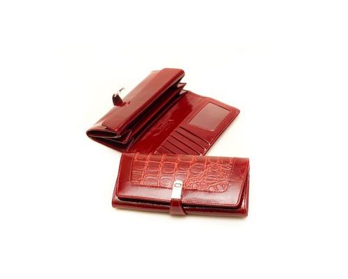 Портмоне женское Grand 02-209-0951 из натуральной кожи красного цвета - (678151К)