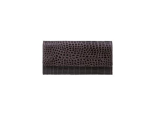 Портмоне женское FABULA Croco Nile/PJ.97.KR из натуральной кожи черного цвета - (612268К)