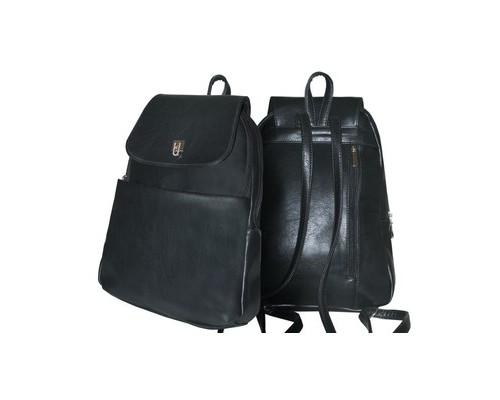 Рюкзак дорожный ПАРУС 537 из экокожи черного цвета 7 л - (437827К)