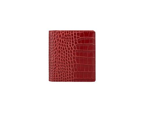 Визитница карманная FABULA Croco Nile V57-1KR на 80 визиток из натурального цвета красного цвета - (612265К)