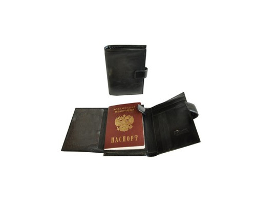 Портмоне мужское с обложкой для паспорта Grand 02-324-0813 из натуральной кожи черного цвета - (466086К)