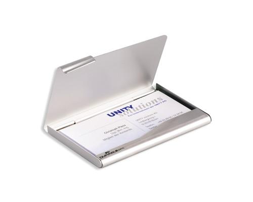 Визитница карманная Durable на 20 визиток из металла серебряного цвета горизонтальная - (78199К)