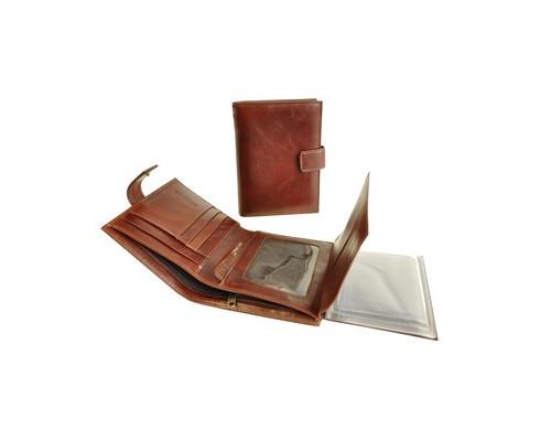 Портмоне мужское с обложкой для автоправ Grand 02-322-0823 из натуральной кожи - (466551К)
