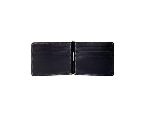 Портмоне-зажим для купюр Fabula Kansas Z6TFX из натуральной кожи черного цвета - (170369К)