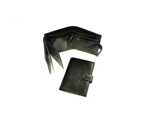 Портмоне мужское с обложкой для автоправ Grand 02-322-0813 из натуральной кожи черного цвета - (466085К)
