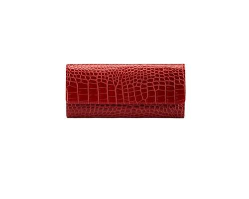 Портмоне женское FABULA Croco Nile/PJ97KR из натуральной кожи красного цвета - (612264К)