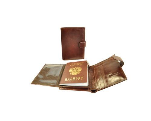 Портмоне мужское с обложкой для паспорта Grand 02-324-0823 из натуральной кожи цвета темный коньяк - (466552К)
