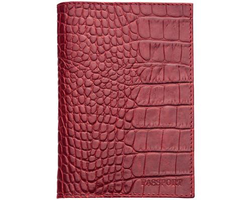 Обложка для паспорта Fabula Croco Nile О11KR красная натуральная кожа - (266922К)