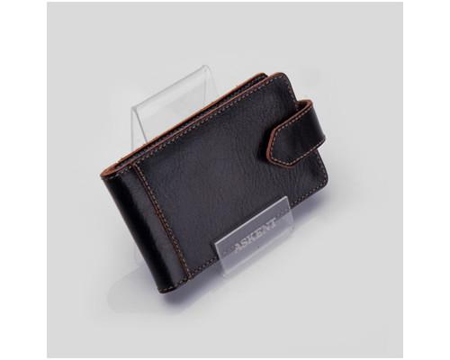Визитница карманная на 40 визиток Fabula V22TXF Kansas черная натуральная кожа - (213490К)