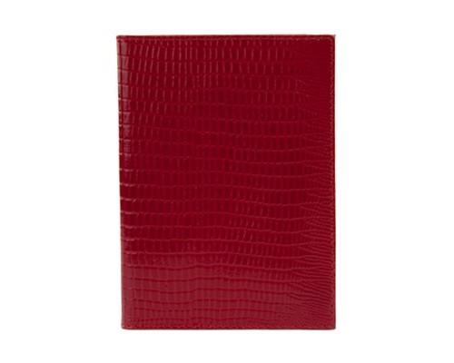 Обложка для паспорта ASKENT O13 ящерица красная натуральная кожа - (213487К)