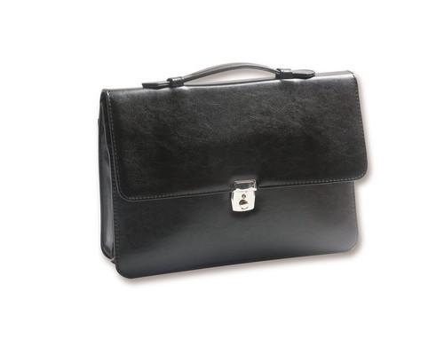 Папка-сумка Вектор Плюс 172и-р из искусственной кожи черного цвета - (48008К)