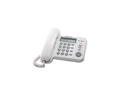 Телефон проводной Panasonic KX-TS2358RUW белый - (303739К)