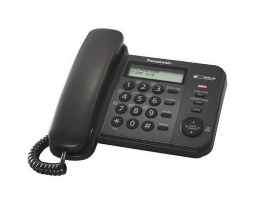 Телефон проводной Panasonic KX-TS2356RUB черный - (303737К)
