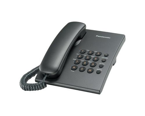 Телефон проводной Panasonic KX-TS2350RUT серый - (303733К)
