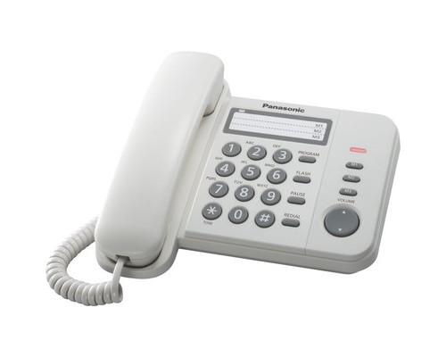 Телефон проводной Panasonic KX-TS2352RUW белый - (271183К)