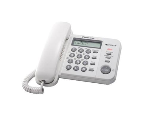 Телефон проводной Panasonic KX-TS 2356RUW белый - (247714К)