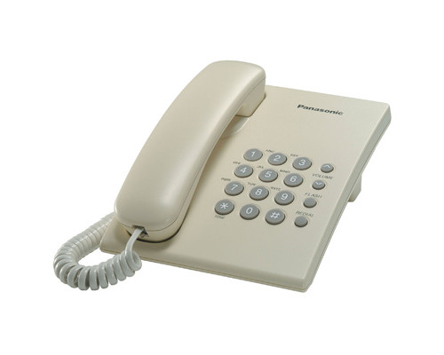 Телефон проводной Panasonic KX-TS2350RUJ бежевый - (303731К)
