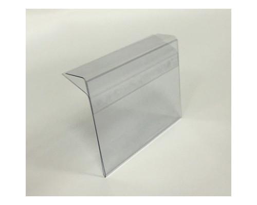 Ценникодержатель пластиковый 80x60 мм для стеклянных полок толщиной 5-8 мм прозрачный 10 штук в упаковке - (538448К)