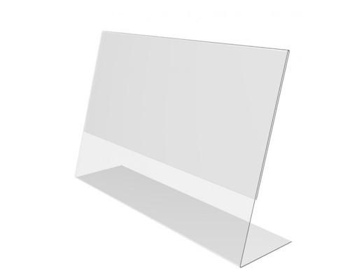 Держатель информации горизонтальный L-образный пластиковый 40x70 мм 20 штук в упаковке - (645214К)