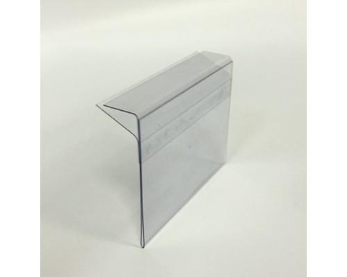 Ценникодержатель пластиковый 60x40 мм для стеклянных полок толщиной 5-8 мм прозрачный 10 штук в упаковке - (538447К)