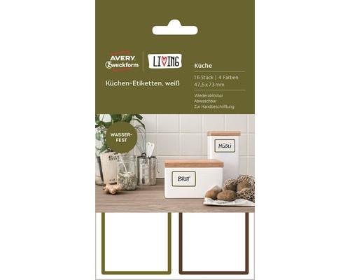 Этикетки самоклеящиеся для кухни Living белые 47.5x73 мм 16 штук - (501788К)