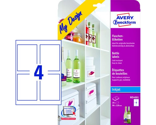 Этикетки самоклеящиеся для бутылок Avery Zweckform My Design белые 90x120 мм 4 штуки на листе А4 5 листов - (501787К)