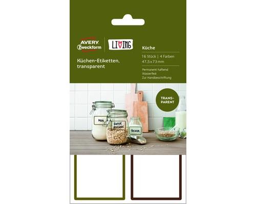 Этикетки самоклеящиеся для кухни Living прозрачные 47.5x73 мм 16 штук - (501789К)