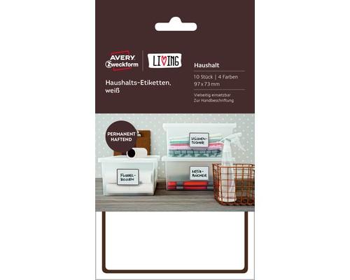 Этикетки самоклеящиеся для дома Living белые 97x73 мм 10 штук - (501791К)